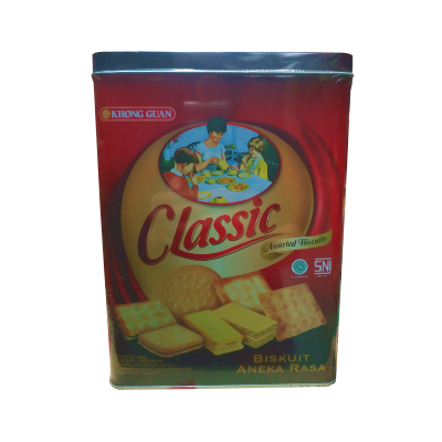 Khong Guan Assorted Biscuits CLASSIC Tin Persegi 600gr / 3 Pcs