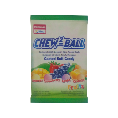 Kino Chew2 Ball Coated Soft Candy  2.5gr Fruit / 3 Bag